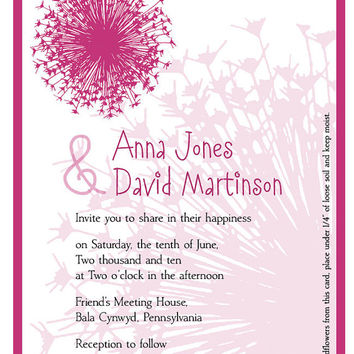 Wedding invitations with dandelion flowers, plantable paper, hot pink and black