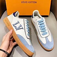 LV Louis Vuitton Fashion New Embroidery Letter Leather Contrast Color Shoes Women