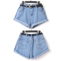 Fashion Womens Girl High Waisted Oversize Crimping Boyfriend Jeans Shorts Pants