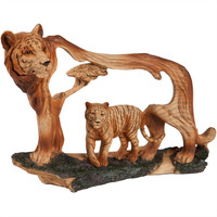 Tiger with Cub Woodlike Carving Figurine