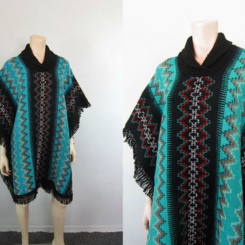 Vintage Southwestern Ethnic Tribal Poncho Knit Fringe Woven Zig Zag Cape Indian Gypsy Boho Hippie Jacket Turquoise Black