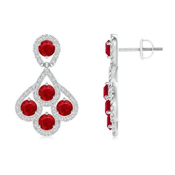 Diamond Encrusted Cluster Ruby Peacock Earrings