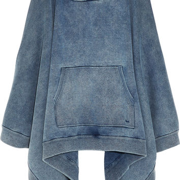 Chloé - Denim-effect cotton-blend jersey hooded poncho sweatshirt