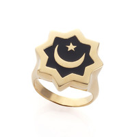 Abraham Crescent Gold  Black Ring