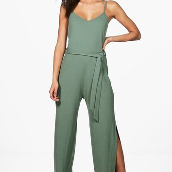 Tall Tamra Split Wide Leg Jumpsuit | Boohoo
