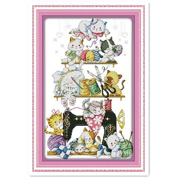 The Kitten Beside The Sewing Machine (2) kits-for-embroidery cross-stitch Needlework Chinese Counted Cross Stitch Patterns