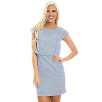 The Sullivan Seersucker Dress in Royal Blue by Lauren James