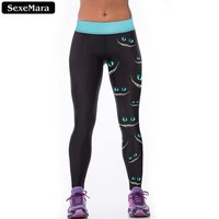 SexeMara Favorite Cheshire Cat Leggings Women Elastic Popular High Waist Sporting Leggin Print Skinny Gothic Fitness Pants F1527