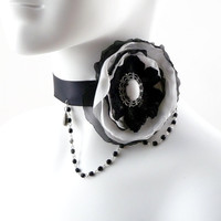 Victorian Choker Necklace Black and White Large Satin Flower with Jade Stone - Lolita, Extravagant, Romantic, Bridal, Boudoir OOAK