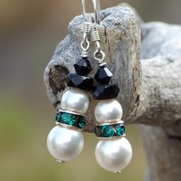 Christmas Snowmen Holiday Earrings, Swarovski Pearls and Green Crystals Handmade Jewelry for Women