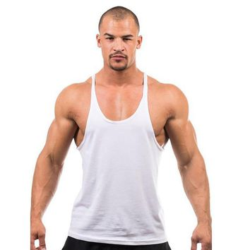 Men Cotton Shark Bodybuilding Stringers Tank Tops Fitness Muscle Golds Vest