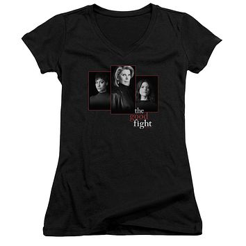 The Good Fight Juniors V-Neck T-Shirt Cast Headshots Black Tee