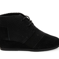 Black Suede and Canvas Youth Desert Wedges