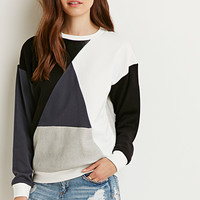Geo-Colorblocked Reverse Terry Sweater