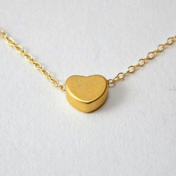 Small gold heart necklace, gold necklace, heart necklace, love necklace, children necklace kids necklace, initial necklace