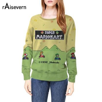 Super Mario party nes switch Raisevern New Style  Kart Crewneck Sweatshirt The Adorable Toad Princess Peach Luigi Print Sweats 3D Print Hoodies AT_80_8