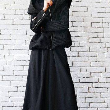 Loose Maxi Coat/Extravagant Casual Jacket/Black Short Coat/Hooded Cardigan/Plus Size Warm Jacket/Long Sleeve Top/Oversize Loose Tunic