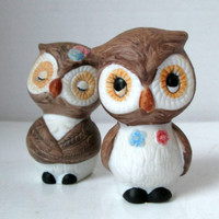 Vintage Owl Salt and Pepper Shakers (Cute Couple)