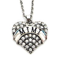 "Mimi Grandma Grandmother Pendant Necklace Heart Rhinestone Jewelry Gift (Size: 0.98"" * 0.91"", Color: Silver) = 1946181508"