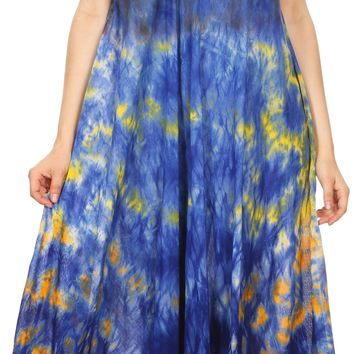 Sakkas Kalia Sleeveless Tide Dye Split Neck Dress / Cover Up