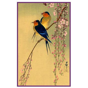 Japanese Artist Ohara Shoson's Swallow Birds on Cherry Blossoms Counted Cross Stitch Pattern
