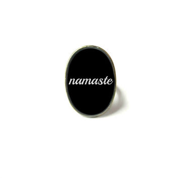 Black namaste Adjustable Ring - Soft Grunge Pastel Goth Motivational and Inspirational Jewelry