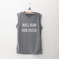 Will run for pizza workout women tank running fitness muscle tank top womens funny sayings slogan activewear training gym tanks