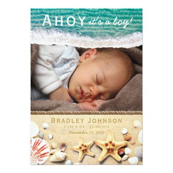 Ahoy it's a Boy Baby Birth Announcement