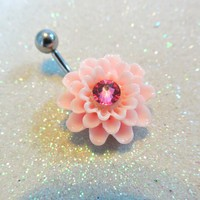 Cute belly button ring, pink dahlia flower bellybutton jewelry 14ga