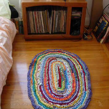 $55.00 Oval Crochet Rag Rug  Upcycled Multicolored by arugularugs on Etsy