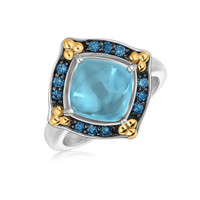 18K Yellow Gold and Sterling Silver Ring with Blue Topaz and Blue Sapphires