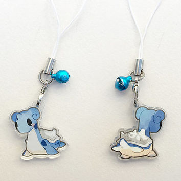 "Pokemon Lapras 1"" Mini Acrylic Charm with Phone Strap (Double Sided Front & Back)"