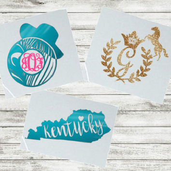 Kentucky Decal, Sticker for Yeti Cup, Kentucky Derby Hat, Horse Monogram