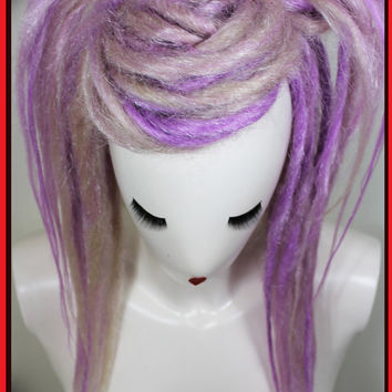 Lilac, Blonde Long Layered Synthetic Dread Falls.