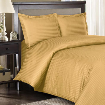 Stripe Gold Down Alternative Bed in a Bag 100% Egyptian cotton 600 Thread count