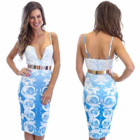 Light Blue Printed Spaghetti Strap V-neck Belted Bodycon Midi Dress