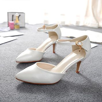 Womans New Summer Leather Pointy Toe Buckle Strap Sandal OL Fashion Low Heel Shoes Wedding Pumps