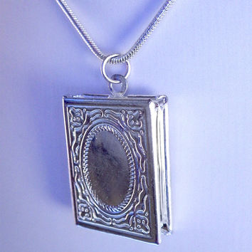 Book locket silver pendant necklace with chain. Love memories