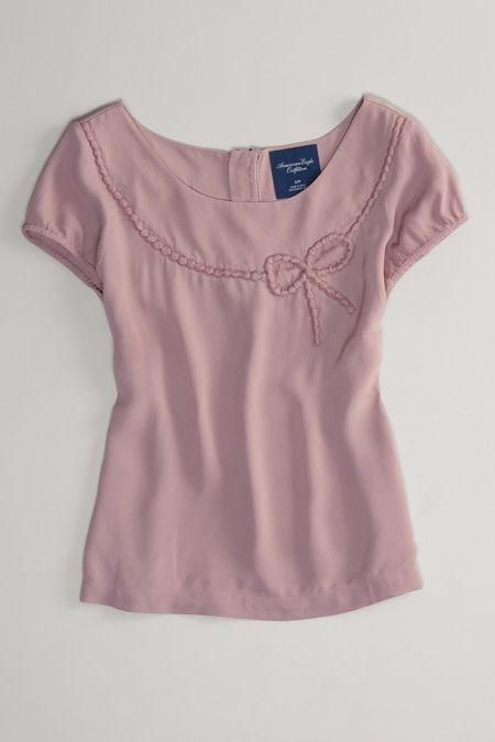 AEO 's Bow Zip-back Top (Rose)