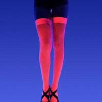 Nylon Fishnet Thigh Highs - Neon Pink