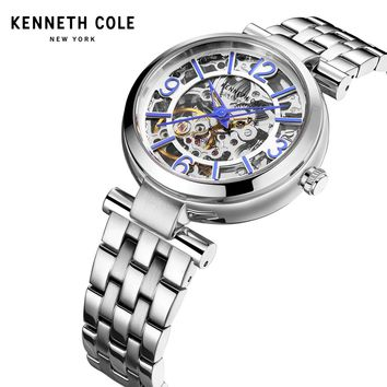 Kenneth Cole Women Watches Bracelet Watch Ladies Automatic Self-Wind Mechanical Steel Silver Waterproof Luxury Brand