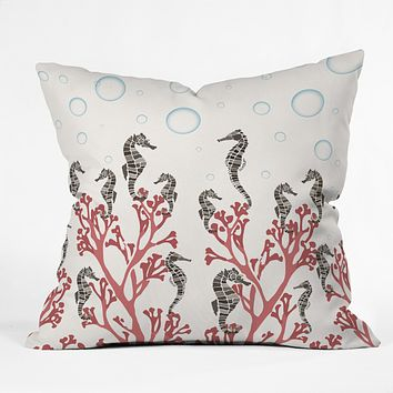 Belle13 Seahorse Forest Throw Pillow
