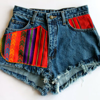 Frayed Aztec Denim Shorts