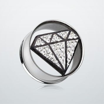 Urban Diamond Tiffany Inspired Tunnel Ear Gauge Plug