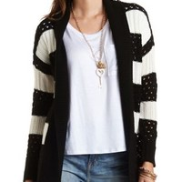 Open Front Striped Cardigan by Charlotte Russe - Black Combo