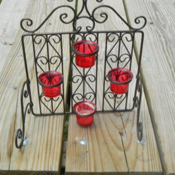 Vintage metal wall hanging with red glass candle holders Free gift with purchase