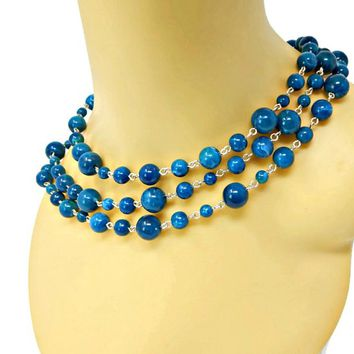 Triple Strand Marbled Teal Blue Necklace Dark and Light Multi Size Glass Beads Signed BB