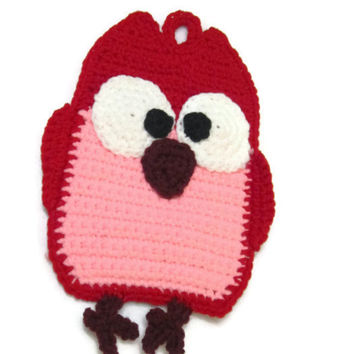 Crochet Owl Pot Holder, Red and Pink Owl Trivet, Owl Wall Decor, Kitchen Owl Pot Holder, Valentine's Day Pot Holder