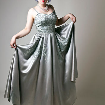 Original 1950s Silver Liquid Satin Full Length Ball Gown
