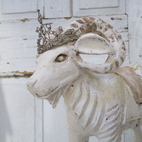 Large wooden Ram painted white distressed French Nordic antique farmhouse wood rocking animal cottage chic home decor anita spero design